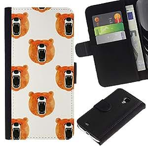 iBinBang / Flip Funda de Cuero Case Cover - Rugido Naranja Blanco - Samsung Galaxy S4 Mini i9190 MINI VERSION!