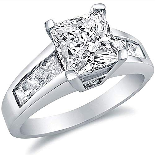 Czjewelry CZ Cubic Zirconia Engagement Ring - Princess Cut Solitaire with Square Side Stones Elegant Promise Ring