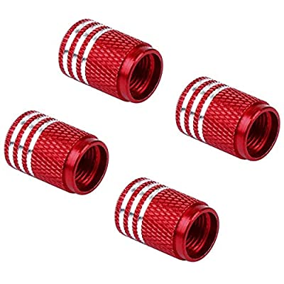 MARLBSTON 4pcs Car Tire Stem Valve Caps Wheel Tyre Dust Stems Cover Compatible with Cars, SUV, Truck, Motorcycles (Red): Automotive