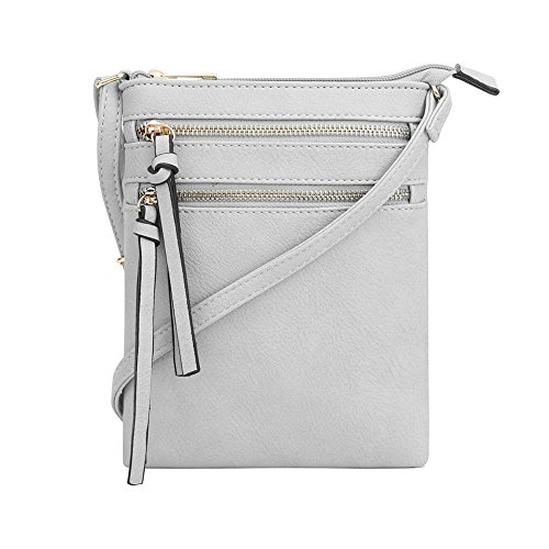 VOCUS PU Leather Women Crossbody Bag with Functional Multi Zipper Pocket by VOCUS