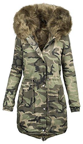Parka da donna invernale con design militare camouflage, con imbottitura in pelliccia, B421 Verde