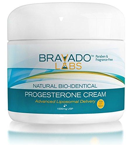 Progesterone Menopause Cream (NEW! Natural Bio-identical Progesterone Cream - Bravado Labs - Helps Relieve Symptoms of Menopause (2oz))