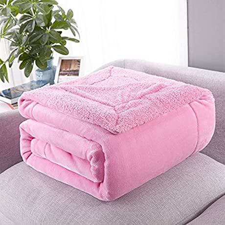 Znzbzt Coral Fleece Blanket Thick Twin Lambs Wool Blankets Sofa Blanket Blanket Single Flannel Lunch And 100x120cm Cover And Thick Cherry Powder
