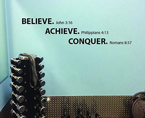 Believe Achieve Conquer Motivational Wall Decal Religious Bible Themed.