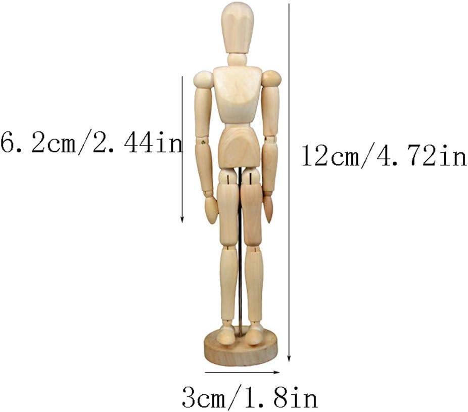 GZQ Modelo de Pintura, 12 cm Dibujo de Madera Varias Poses Muneca Modelo Movible,Juguete de T/ítere con Articulaci/ón Activa