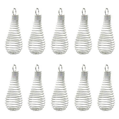 FidgetKute K581 10X/lot Silver 41mm Iron Spiral Light Bulb Beads Cage Locket - Wholesale