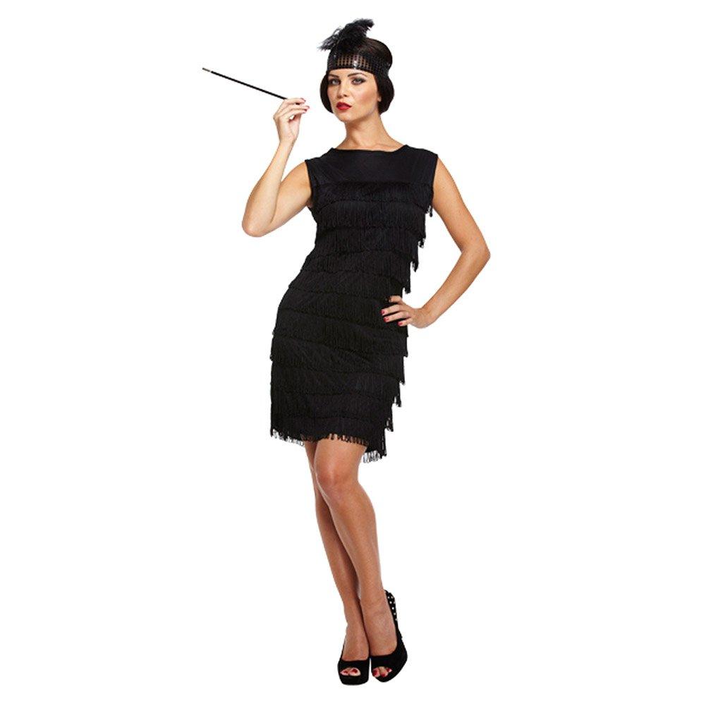 Damen Sexy Schwarz 1920s Fransen Flapper Mädchen Charleston Kostüm ...