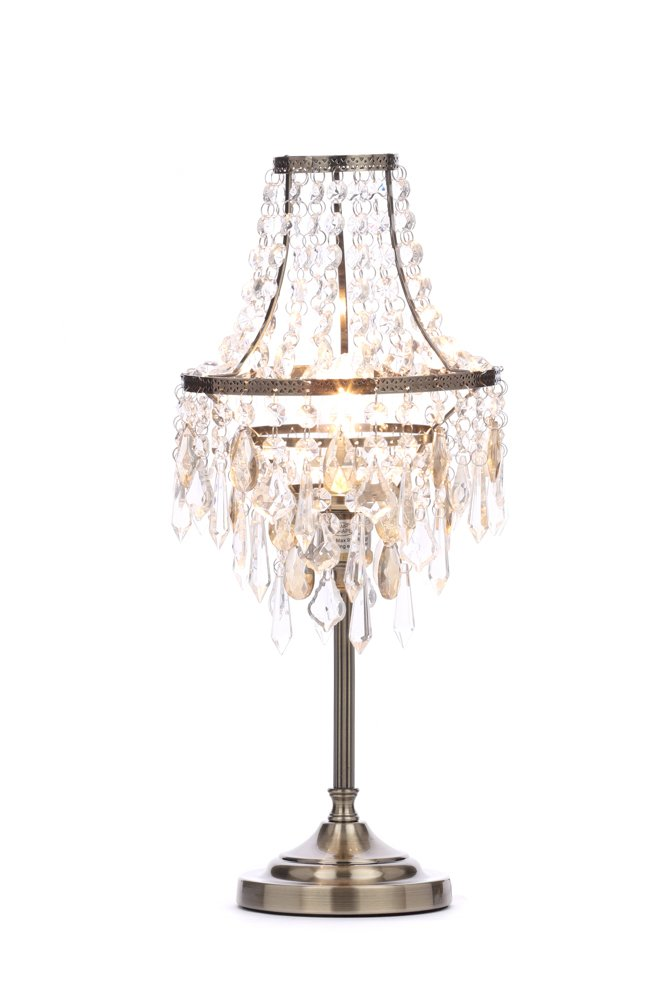 Illuminate Lublin Art Deco, Chandelier Style 1 Light Table Lamp With Clear And Champagne Cut Crystal Effect Glass Droppers, In Metal, Antique Brass (A++ To E) Cascade PR31522