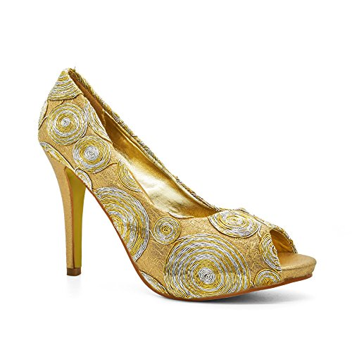 London Footwear Ginette, Women's Court Shoes Gold
