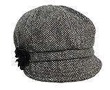 Mucros Women's Newsboy Cap Grey Herringbone 100% Wool Made in Ireland