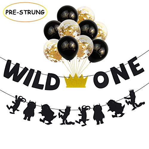 Joymee Wild-One Banner Gold Black Confetti Balloons Decorations,12 Latex Balloons Baby First Birthday Party Supplies Photo Prop Decoration