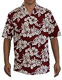 Men's Classic Hibiscus Hawaiian Aloha Shirt (3XL, RED)