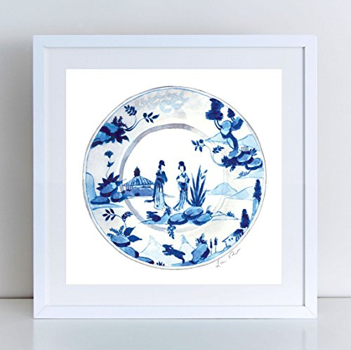 Blue and White China Plate No. 5 Giclee Print of Watercolor Painting 10 x 10, 12 x 12 inches Fine Art Poster Figural Study Kimono Ladies Geisha Chinoiserie Chic