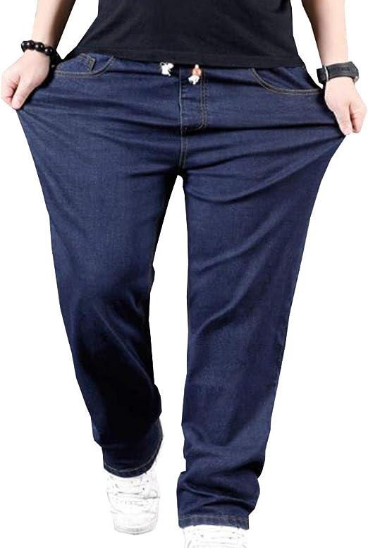 PuHao(プハオ) メンズ 大きいサイズ ジーンズ デニム パンツ ストレッチ ゆったり ウエストゴム ジーンズ ヒップホップ カジュアル ロングパンツ ストリート系 ワイドパンツ