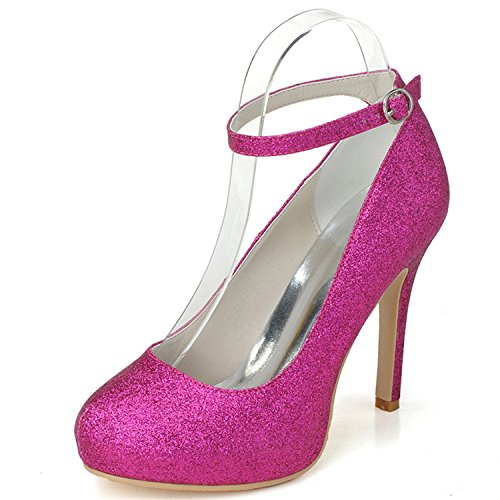 Szxf6915 Sarahbridal Almond 05 Pumps For Prom Toe Strap Party Women's Wedding Court Fuchsia Heels High Shoes Ankle Cocktail xxrZBnU