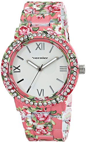 Vernier Womens VNR11168O Pink Floral and Rhinestone Watch