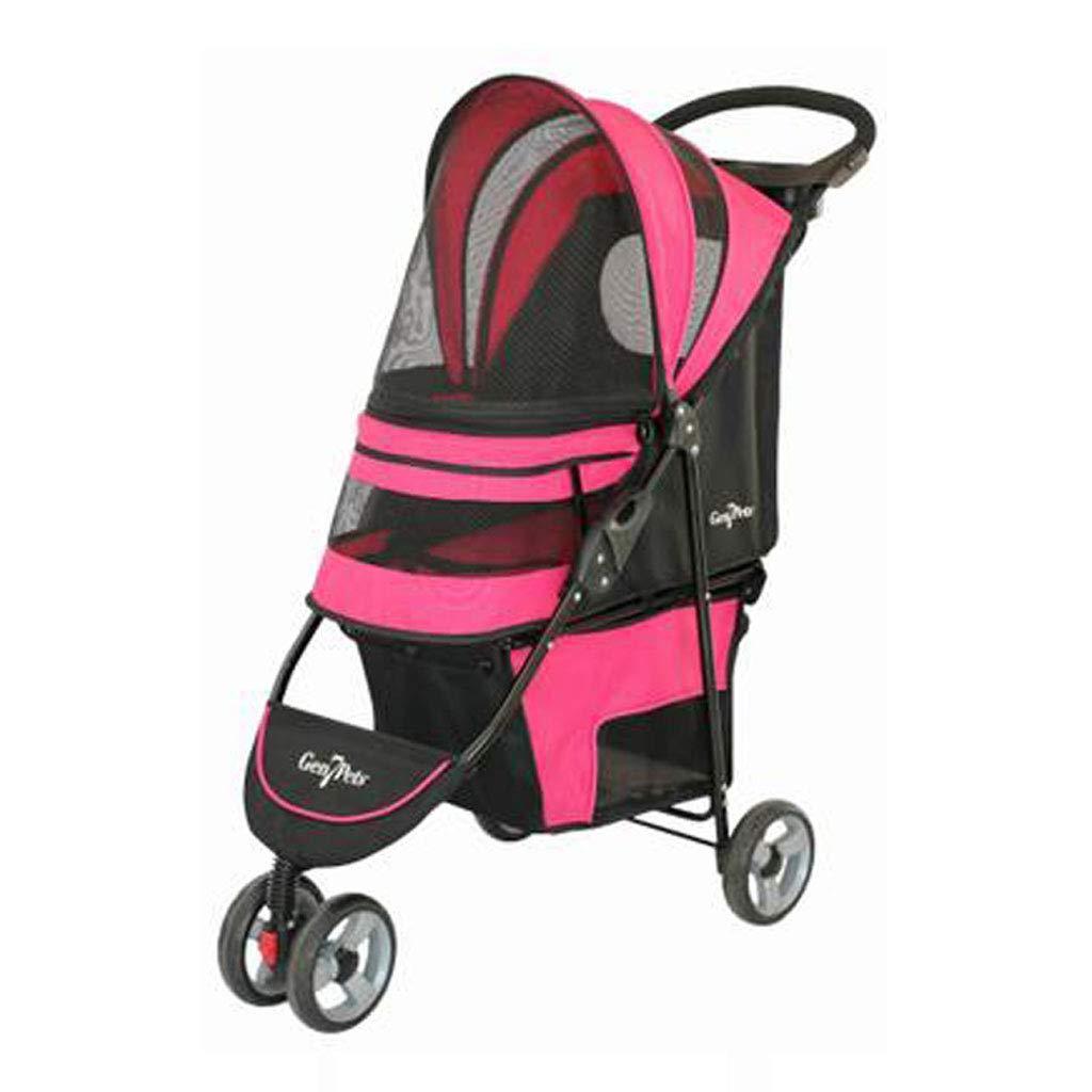 Pink KKCDDog Strollers Pet Stroller 3 Wheels Dog Cat Pushchair Trolley Pram Puppy Jogger Foldable Travel Carrier Strolling Cart Cat Stroller (color   bluee)