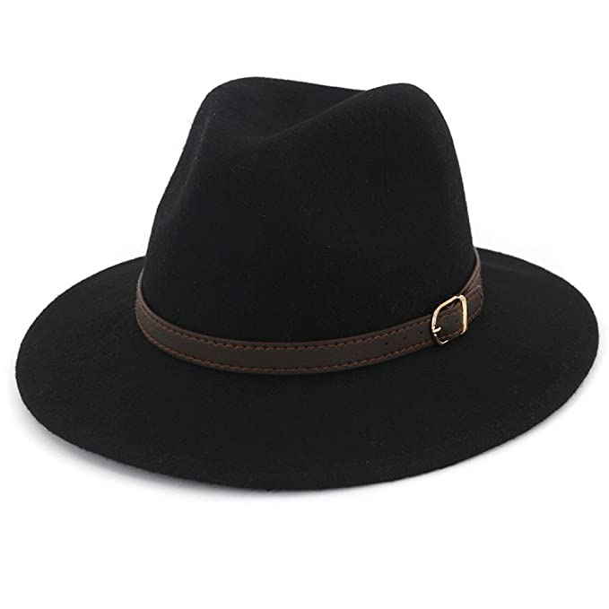 a8a8f3446b1 Lisianthus Women s 100% Wool Fedora Panama Hat Wide Brim with Belt Black