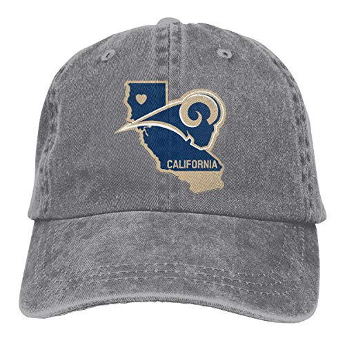 California Republic Flag Rams Football Hip Hop Baseball Cap Adjustable Unisex Gray]()