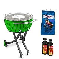 Special Grill Lotusgrill YEI klein grün Edelstahl Stahl Kunststoff Exclusive Balkon Camping Garten Picknick ✔ rund ✔ tragbar rauchfrei ✔ Grillen mit Holzkohle ✔ für den Tisch