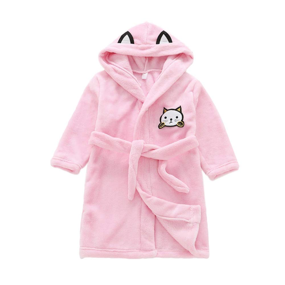 Blaward Kids Flannel Pajamas/Soft Bathrobe Children Towel Swimming Hooded Towel Poncho/Long Robe Dressing for 3-8 Years