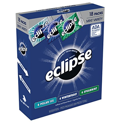 ECLIPSE Gum Sugarfree Chewing Gum Three Flavor Variety Pack, 18 Count per pack, Pack of 18