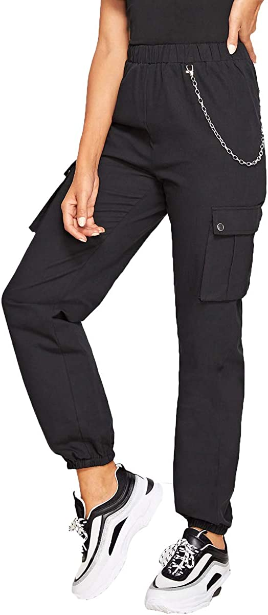 Soly Hux Pantalones Para Mujer Elasticos Con Bolsillos Laterales Y Cadena Diseno De Camuflaje Negro L Amazon Es Ropa Y Accesorios