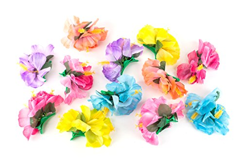 Neliblu Hula Girl Hibiscus Flower Party Hair Clips - Hawaiian Party Themed Hair Clips, Luau Party Favors - Birthday Party Favors, Tropical Party Decorations (12 Pack) Assorted -
