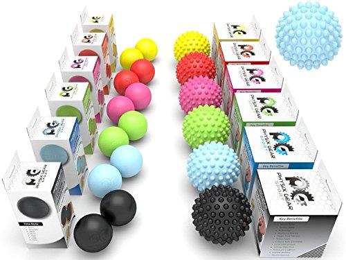 Physix Gear Sport Massage Balls - Best Spiky Ball Roller for Plantar Fasciitis Trigger Points Neck & Back Pain Relief - Deep Tissue Rehab Reflexology Acupressure - Reach Areas Foam Rollers Can't (BLU)