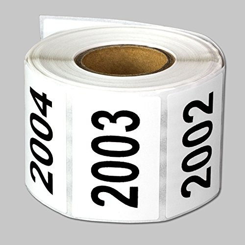 "Consecutive Number Labels Self Adhesive Stickers ""2001 to 2500"" (White Black / 1.5"" x 1"") - 500 labels per package"