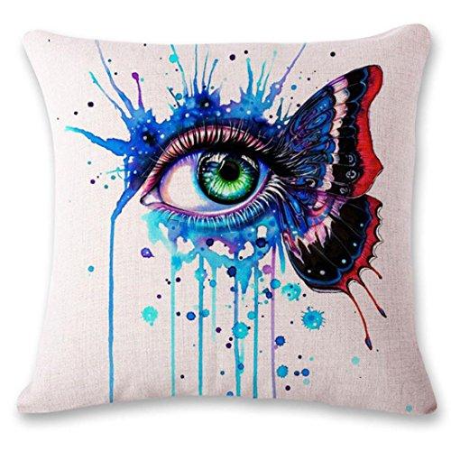 - Dirance Single Eye Hand-Painted Decorative Pillowcase Ordinary Linen Spring Sofa Pillow Pillow Cover Sofa Bedroom car, Square Pillowcase 18