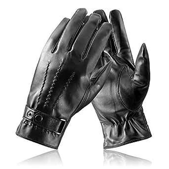 Men's Genuine Leather Gloves, Touchcreen Winter Warm