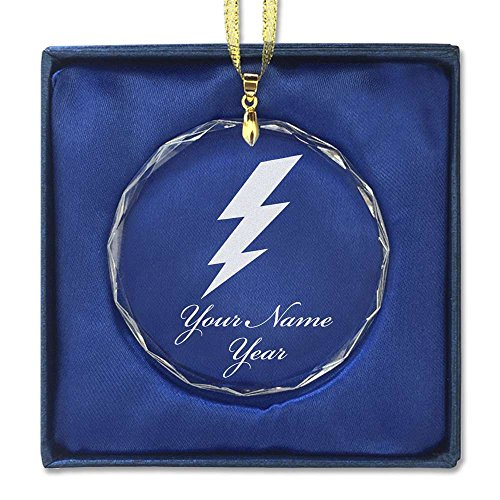 Round Crystal Christmas Ornament - Lightning Bolt - Personalized Engraving Included