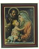 FRAMED ART GLASS HOLY FAMILY 10'' X 12''.