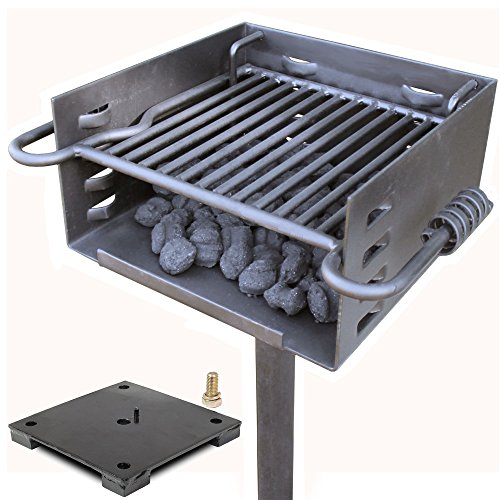 Titan Single Post Park Style Grill Charcoal Grill w Base Anchor BBQ Heavy Camp ()