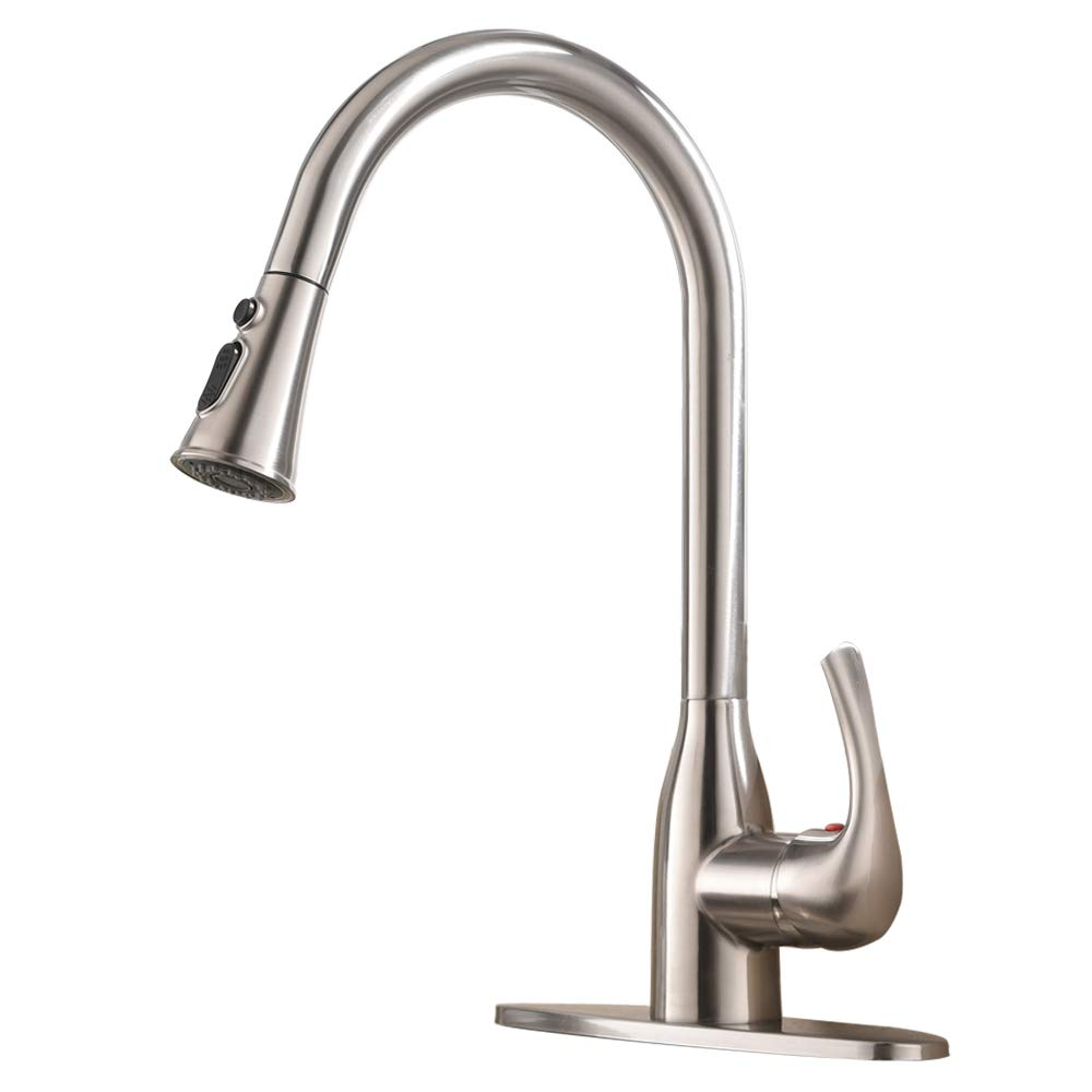 VESLA HOME Commercial Stainless Steel Single-Handle Touch Pull Down Sprayer Kitchen Sink Faucet, Brushed Nickel Kitchen faucets