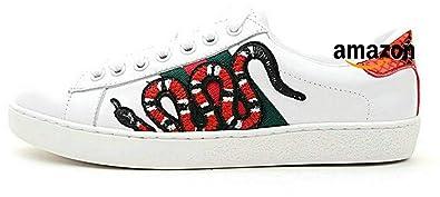 5e2ab6e72756 Ace Embroidered Sanke Sneakers Serpent Chaussures de Gymnastique Cuir Blanc  Homme Femme (40 EU,