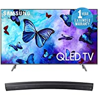 Samsung QN82Q6 Flat 82 QLED 4K UHD 6 Series Smart TV 2018 Bundle with Samsung Sound+ Premium Curved Soundbar (HW-MS6500/ZA) + 1 Year Extended Warranty