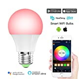 HaoDeng Smart LED WiFi Light Bulb -Timer & Sunrise & Sunset- Dimmable, Multicolor, Warm White - 40w Equivalent E27, No Hub Required, Compatible with Alexa, Google Home Assistant and IFTTT