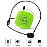 XB-600 Voice Amplifier,Mini Rechargeable PA system with multifunction, Supports MP3 Format Audio and SD Card good for Teaching, Speech, Conference, Church, Promotion, Business and more(Green)