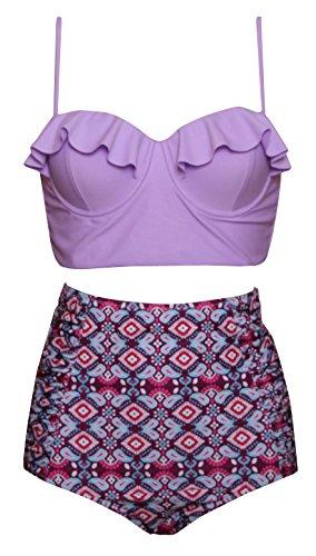 Dellukee Women's Retro Ruffle Floral Print High Waist 2PCS Bikini Sets Beachwear (Purple Floral Bikini)