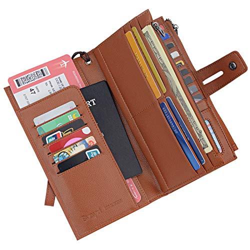 Rfid Blocking Travel Wallet Leather Passport Holder Family Travel Document Organizer (Brown) ()
