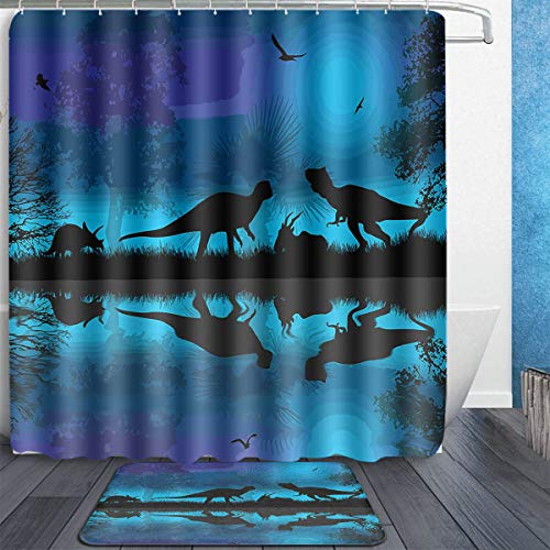 MAHENSHANGM Dinosaurs River Moon Night Dinosaur 2 Set Bathroom Set 72X72in Shower Curtain 18x30in Bath Mats Floor Doormat Rugs]()