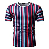 Mens Casual Stripe Patchwork Short SleevedSlim Fit T Shirts Top Blouse (M, Red)