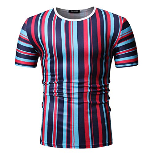 Mens Casual Stripe Patchwork Short SleevedSlim Fit T Shirts Top Blouse (M, Red) by chuxin huang (Image #1)