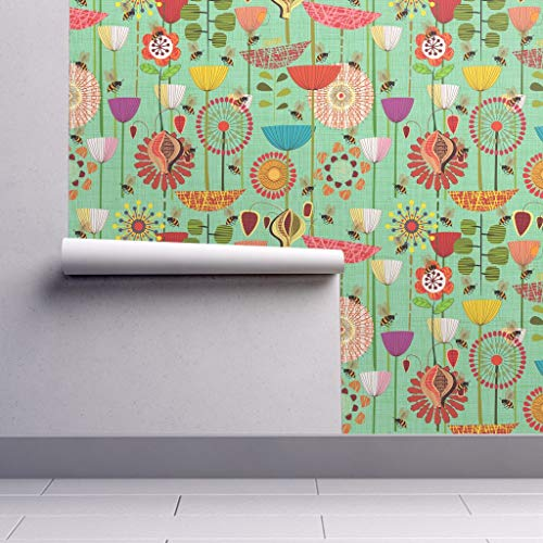 Peel-and-Stick Removable Wallpaper - Floral Floral Bees Insects Teal Floral Animals Flowers Nature Green by Chicca Besso - 24in x 60in Woven Textured Peel-and-Stick Removable Wallpaper Roll