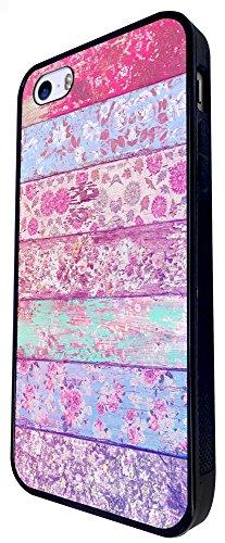 1177 - Floral Shabby Chic Roses Fleurs Multi Art Design iphone SE - 2016 Coque Fashion Trend Case Coque Protection Cover plastique et métal - Noir