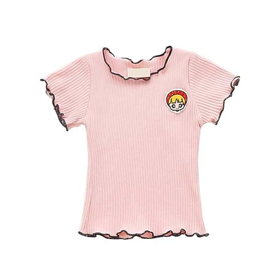 MORESAVE Camisetas de Manga Corta Para Niñas Candy Cute Color Hebilla Para Dobladillo Blusas Casual Tops