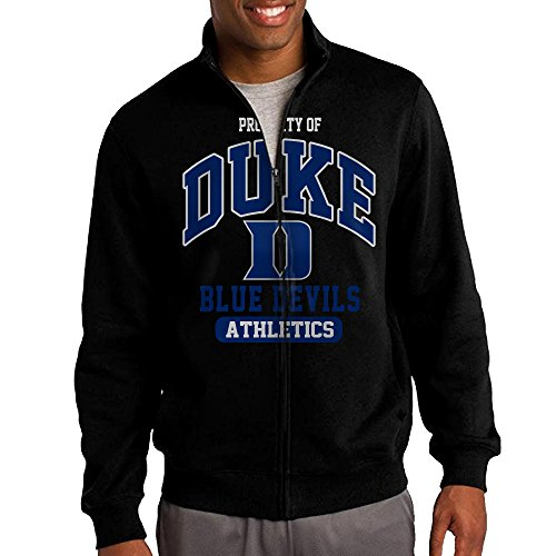 Men Duke University Duke Blue Devils Athletics Zip-up Jacket Sweatshirt Black (Devil Man Adult Vest)