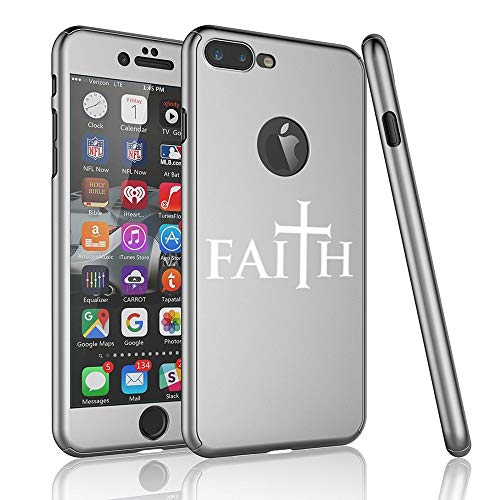 360° Full Body Thin Slim Hard Case Cover + Tempered Glass Screen Protector for Apple iPhone Faith Cross (Silver, for Apple iPhone 7 Plus / 8 Plus)